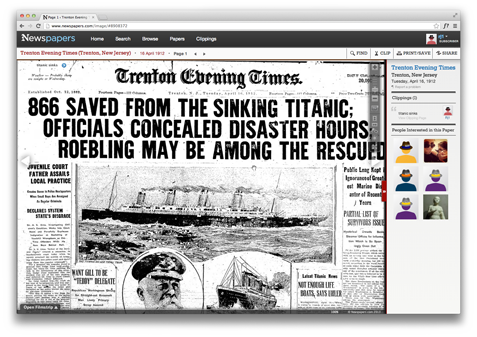 The Newspapers Viewier lets you easily view, print, save, and share your findings